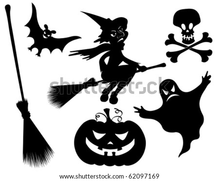 Halloween silhouettes. Witch, pumpkin, witches broom, skeleton, bat, skull and ghost. - stock vector
