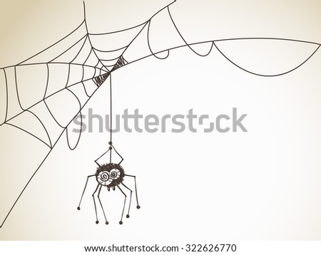 Halloween Sketch, Spider with big eyes on a web, Hand drawn illustration - stock vector