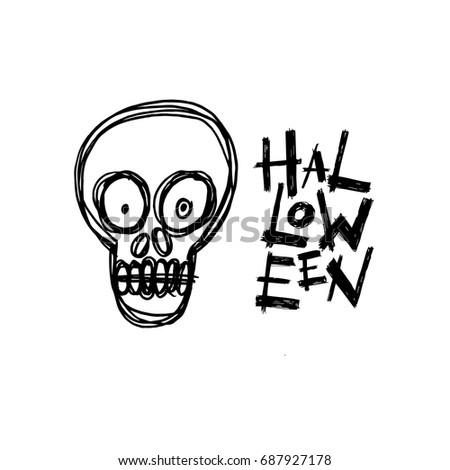 halloween skull handdrawn greeting card with handwritten calligraphy vector - Halloween Skull