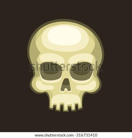 Halloween Skull in Cartoon Style on Dark Background. Vector - stock vector