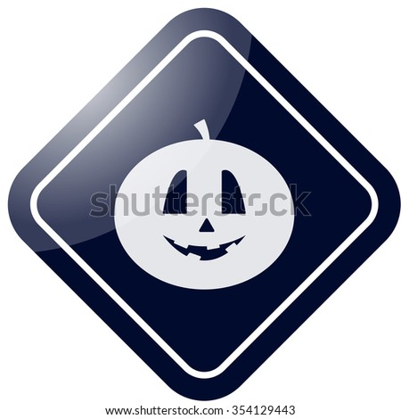 Halloween smiling pumpkin icon on colorful background
