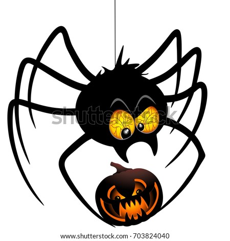 Halloween Spider Cartoon holding a Pumpkin