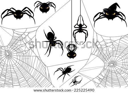 Halloween spider design set - monster arachnids among spiderweb vector silhouettes - stock vector