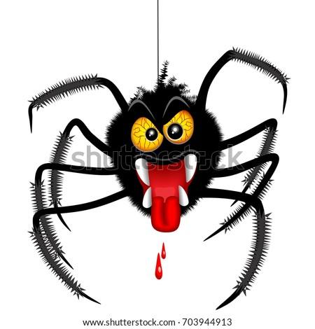 Halloween Spider Spooky Cartoon Character Stock Vector 703944913 ...
