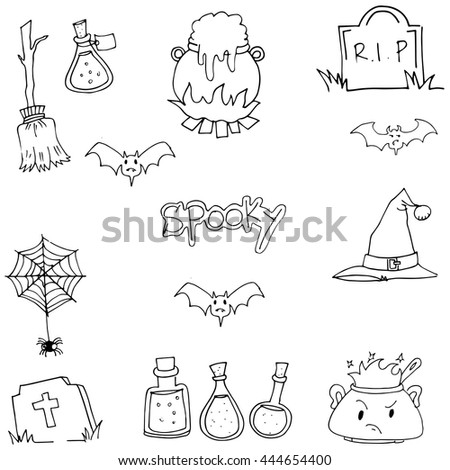 Halloween spooky doodle vector art on white backgrounds