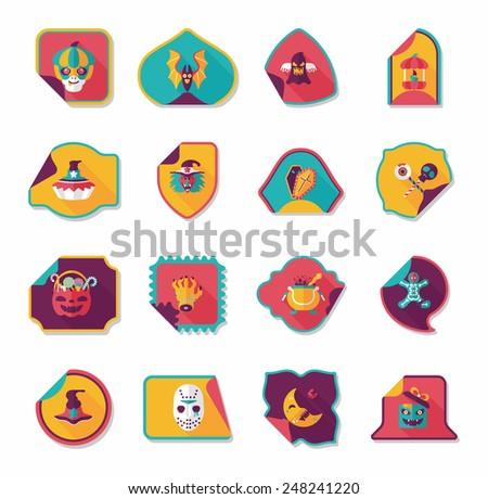 Halloween sticker banner flat background set, eps10 - stock vector