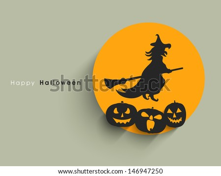 Halloween sticker, tag or label with flying witch on broom with scary pumpkins.  - stock vector