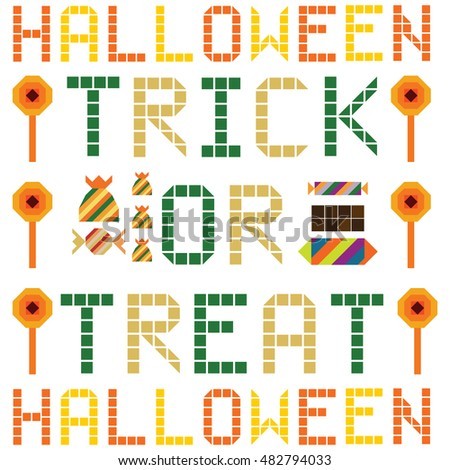 Halloween sweet and candy set trick or treat on white