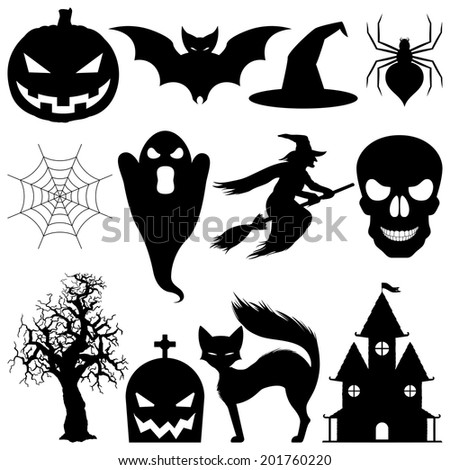 Halloween symbols. - stock vector