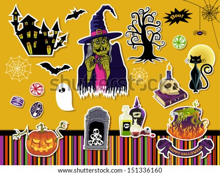 Halloween Symbols and Icons - Set of paper cutout stickers with Halloween symbols, including witch, gnarled tree, skulls, black cat and witches cauldron. Also included Halloween stripe pattern - stock vector