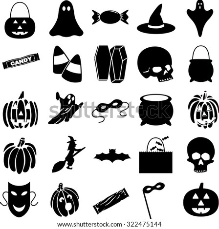 halloween symbols set - stock vector