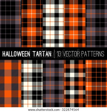 Halloween Tartan Plaid Patterns. Orange, Black, White and Grey Tartan Plaid and Gingham Check Patterns. Modern Tartan Backgrounds. Vector EPS File Pattern Swatches made with Global Colors. - stock vector