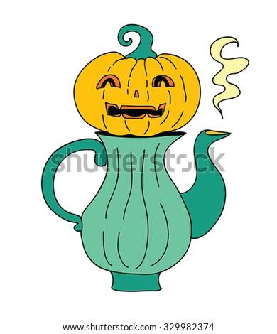 Halloween teapot vector illustration - retro cartoon funny pumpkin face on a hot teapot. Smiling Pumpkin face  for cute Halloween tea time. Jack-o-lantern on green kettle. Vector watercolor. Eps 10. - stock vector