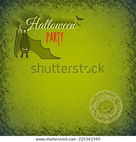 Halloween Template With Hanging Bat Vampire On A Green Grungy Background In Cracks And Scratches