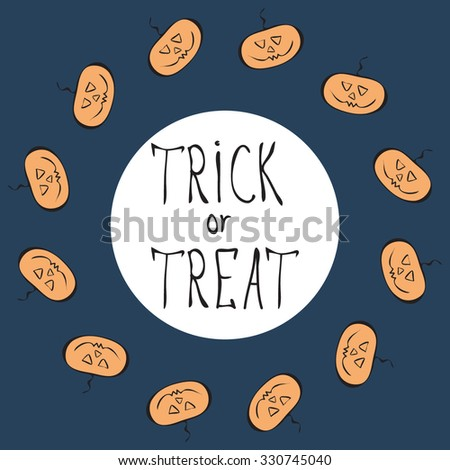 Halloween template with orange stylized funny sketched pumpkins on the blue background.Festive design for invitation cards,banner,stickers and poster.Trick and treat concept.Halloween icons, elements - stock vector