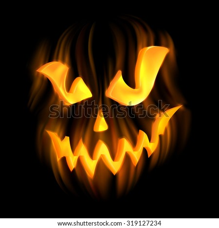 Halloween-terrible background with Jack-o-Lantern. EPS 10 contains transparency. - stock vector