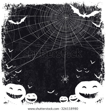 Halloween themed background with space for text. Halloween symbols - pumpkins, bats, spider web. - stock vector