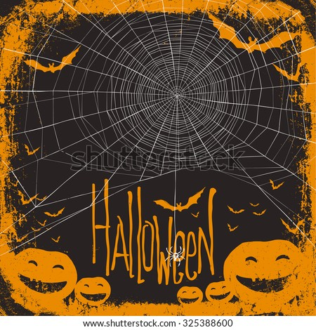 Halloween themed background with spider web - stock vector