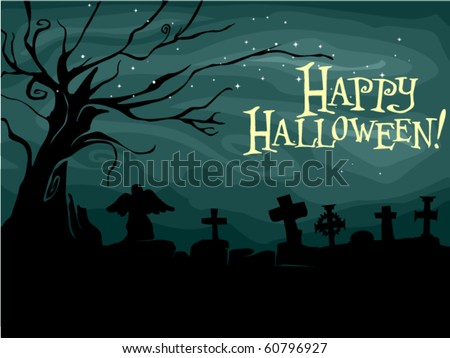 Halloween-themed Design Featuring a Creepy Graveyard - Vector - stock vector