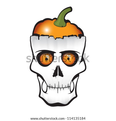 Halloween themed skull with pumpkin instead of brain. The illustration is fully editable and easy to change any detail. - stock vector