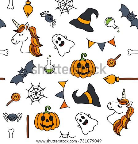 Halloween Things Unicorn Cute Doodle Seamless Stock Vector ...