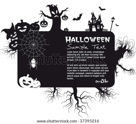 halloween time spooky banner, vector editable illustration with place for text - stock vector