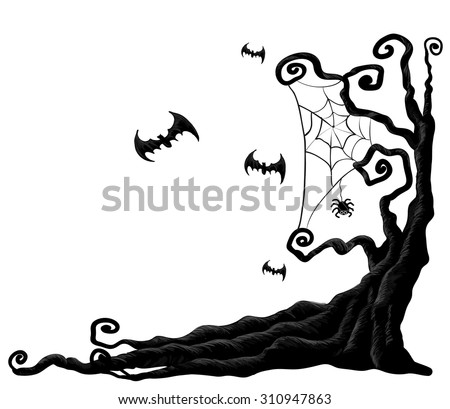 halloween tree from vector - Black Halloween Tree