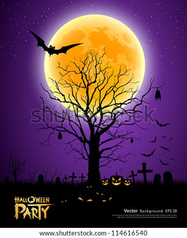 Halloween tree full moon background, vector illustration - stock vector