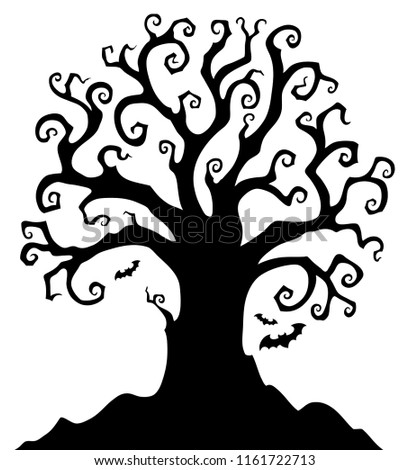 Halloween tree silhouette topic 1 - eps10 vector illustration.
