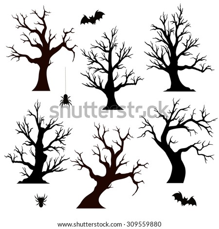 halloween trees spiders and bats on white background - Black Halloween Tree