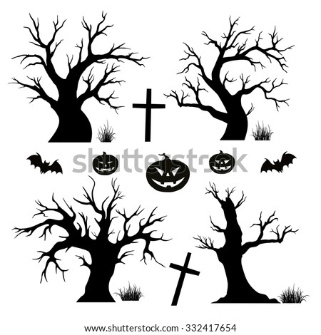 Halloween trees, spiders and bats on white background - stock vector