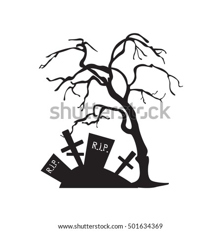 Halloween Trees Spiders Bats On White Stock Vector 501634369 ...