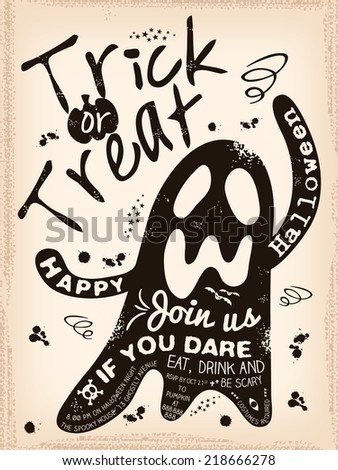 Halloween Trick or Treat Ghost Illustration with grunge background design - stock vector