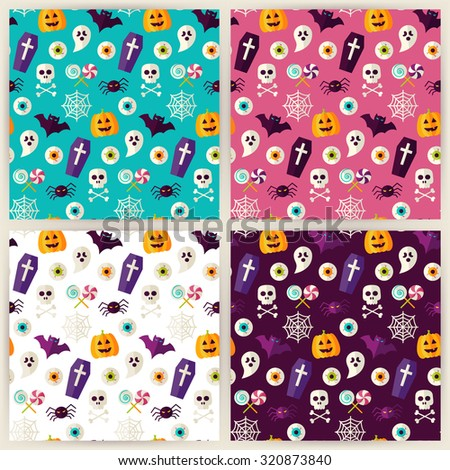 Halloween Trick or Treat Objects Seamless Pattern Set. Flat Style Vector Seamless Texture Backgrounds. Collection of Halloween Party Templates. - stock vector