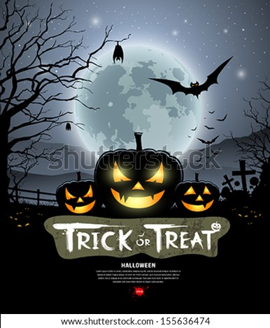 Halloween trick or treat pumpkin design background, vector illustration - stock vector