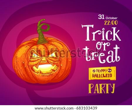 Halloween Trick Or Treat Pumpkin Design Background. Vector Illustration.  Hand Drawn Engraved Pumpkin And