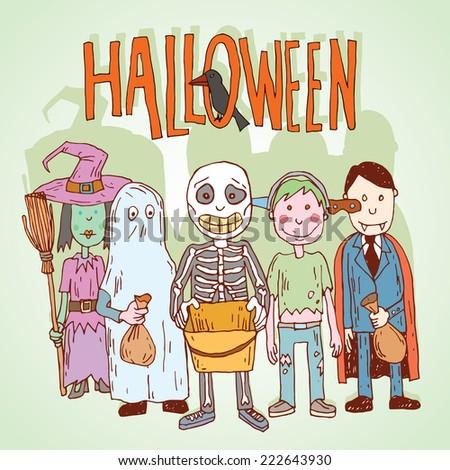 Halloween trick or treat. vector illustration - stock vector
