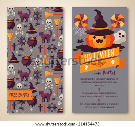 Halloween invite stock images royalty free images vectors halloween two sides poster or flyer vector illustration halloween party invitation place for stopboris Gallery