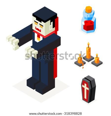 Halloween Vampire Icons Set Coffin Blood Elixir Wax Candles Trick or Treat Flat Design Isometric 3d Vector Illustration - stock vector