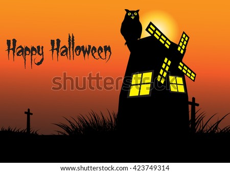 Halloween vector background concept template scary graveyard with owl and turbine house - stock vector