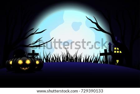 Halloween Vector Background Wallpaper Concept The Night With Pumpkin Dead Tree Tomb