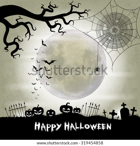 Halloween vector background with moon, bats, spider web, spider and halloween lanterns