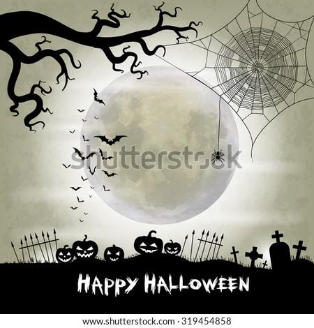 Halloween vector background with moon, bats, spider web, spider and halloween lanterns - stock vector