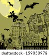 Halloween vector background with moon, witch on a broomstick over top the city and bats.  - stock vector