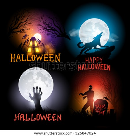 Halloween Vector Backgrounds. Scenes included a haunted house, a werewolf and zombies. Vector illustration. - stock vector