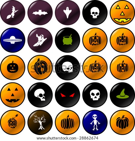 halloween vector buttons set