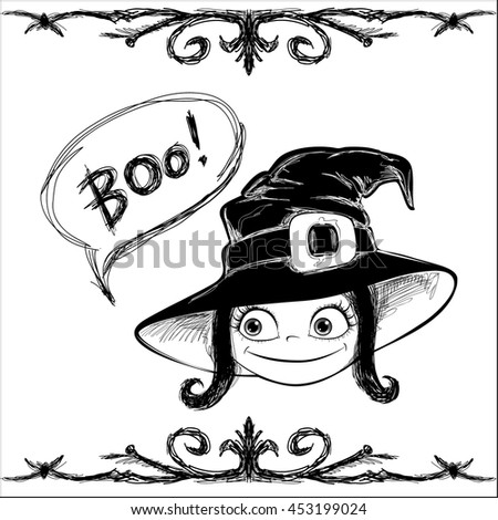 """Halloween vector card. Little Witch, frame and lettering """"BOO!"""". Handmade are made black ink on white background. This useful to poster, card, invitation for party, coloring book. - stock vector"""