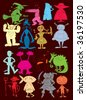 halloween vector characters with dark background (hand drawn) - stock vector
