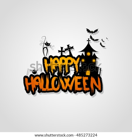 Halloween Vector Design with Happy Halloween Lettering.