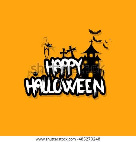 halloween vector design with happy halloween lettering - Design Halloween